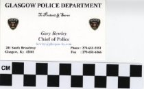 Image of Glasgow Police Department chief's business card -