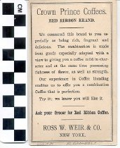 Image of Crown Prince Coffee trade card