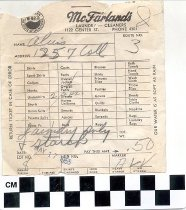 Image of McFarland's Laundry-Cleaners receipt