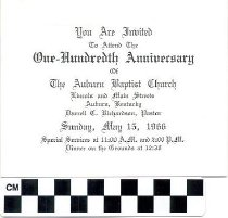Image of The Auburn Baptist Church One Hundreth Anniversary invitation