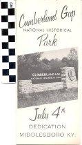 Image of Cumberland Gap National Historic Park dedication brochure
