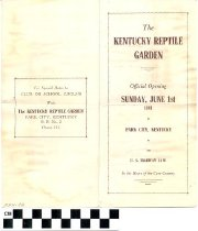 Image of The Kentucky Reptile Garden brochure