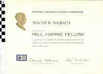 Image of Rotary Club of Bowling Green's Paul Harris Fellow certificate -