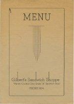 Image of Gilbert's Sandwich Shoppe menu