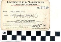 Image of Louisville & Nashville Railroad company pass