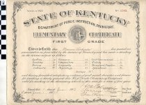 Image of First Grade elementary certificate