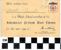 Image of American Junior Red Cross membership card