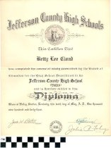 Image of Jefferson County High School diploma