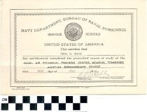 Image of United States Navy certificate of completion