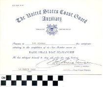 Image of The United States Coast Guard Auxiliary certificate, 1950
