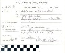 Image of Cemetery Department receipt