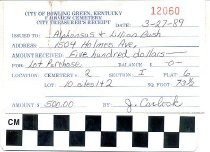 Image of Receipt from Fairview Cemetery