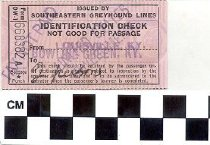 Image of Southeastern Greyhound Lines identification check