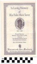 Image of Helen Marie Sarver funeral program