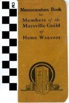 Image of Memorandum Book for Members of the Maysville Guild of Home Weavers
