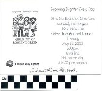 Image of Girls Inc. Annual Dinner invitation