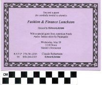 Image of Fashion & Finance Luncheon invitation