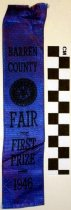Image of 2010.92.107 - Barren County Fair First Prize Ribbon