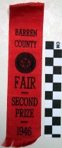 Image of 2010.92.109 - Barren County Fair Second Prize Ribbon