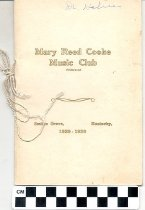 Image of Mary Reed Cooke Music Club program