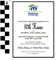 Image of Habitat for Humanity 50th House celebration invitation