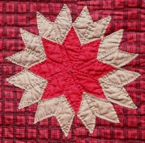 Image of Lone Star Quilt by Minnie Alice (Young) Sutton (detail  ofcorner star)