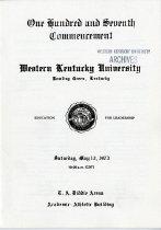 Image of Commencement Program - Registrar (WKU)