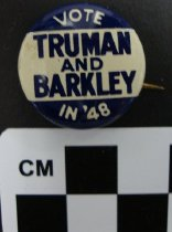 Image of Truman and Barkley in '48 political button - Button, Political