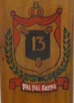 "Image of Delta Tau ""Thirteeners"" fraternity paddle (detail)"