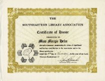 Image of Honorary membership in the Southeastern Library Association -