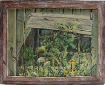 Image of KM2012.48.1 - Painting of daisies next to a shed