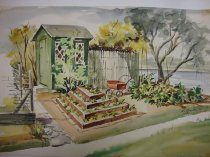 Image of Dorothy Grider watercolor garden scene