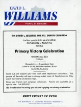 Image of David L. Williams [primary victory celebration invitation, 1995] -