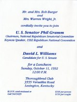 Image of [Phil Gramm & David L. Williams reception invitation, 1992] -