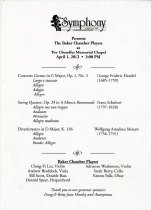 Image of Baker Chamber Players presented by The Symphony of WKU -
