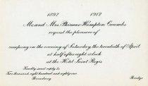 Image of Mr. and Mrs. Phineas Hampton Coombs twentieth anniversary celebration invitation - Board of Regents of Locust Grove