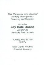 Image of Kentucky Poet Laureate ceremony and reception invitation - Board of Regents of Locust Grove