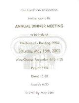 Image of Landmark Association Annual Dinner Meeting invitation -