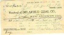 Image of Delafield Coal Company receipt -