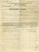 Image of Steamer Astor receipt form -