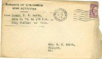 Image of Knights of Columbus War Activities, Camp Sherman, Ohio envelope -