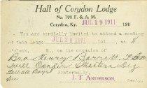 Image of Hall of Corydon Lodge, No. 799 F. &  A. M., Corydon, Ky. meeting notification. -