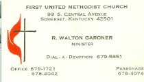 Image of First United Methodist Church minister's card -
