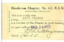 Image of Royal Arch Masons membership card -
