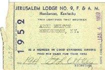 Image of F. & A. M. Lodge membership card -