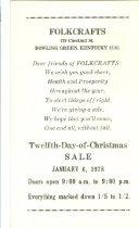 Image of Folkcrafts sale advertisement -