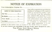 Image of Park City Daily News subscription expiration notice -