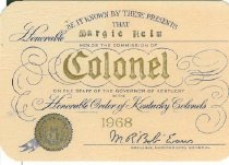 Image of Kentucky Colonels membershp card -