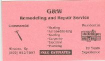 Image of G & W Remodeling and Repair Service, Alvaton, Ky. [business card] -