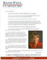 Image of Rand Paul : U. S. Senate 2010 [letter] -